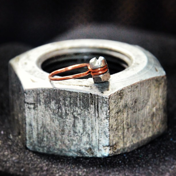 #ring #steampunk #copper #nut #screw