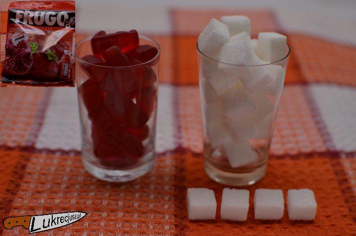 Żelki Frugo kalorie w kostkach cukru
